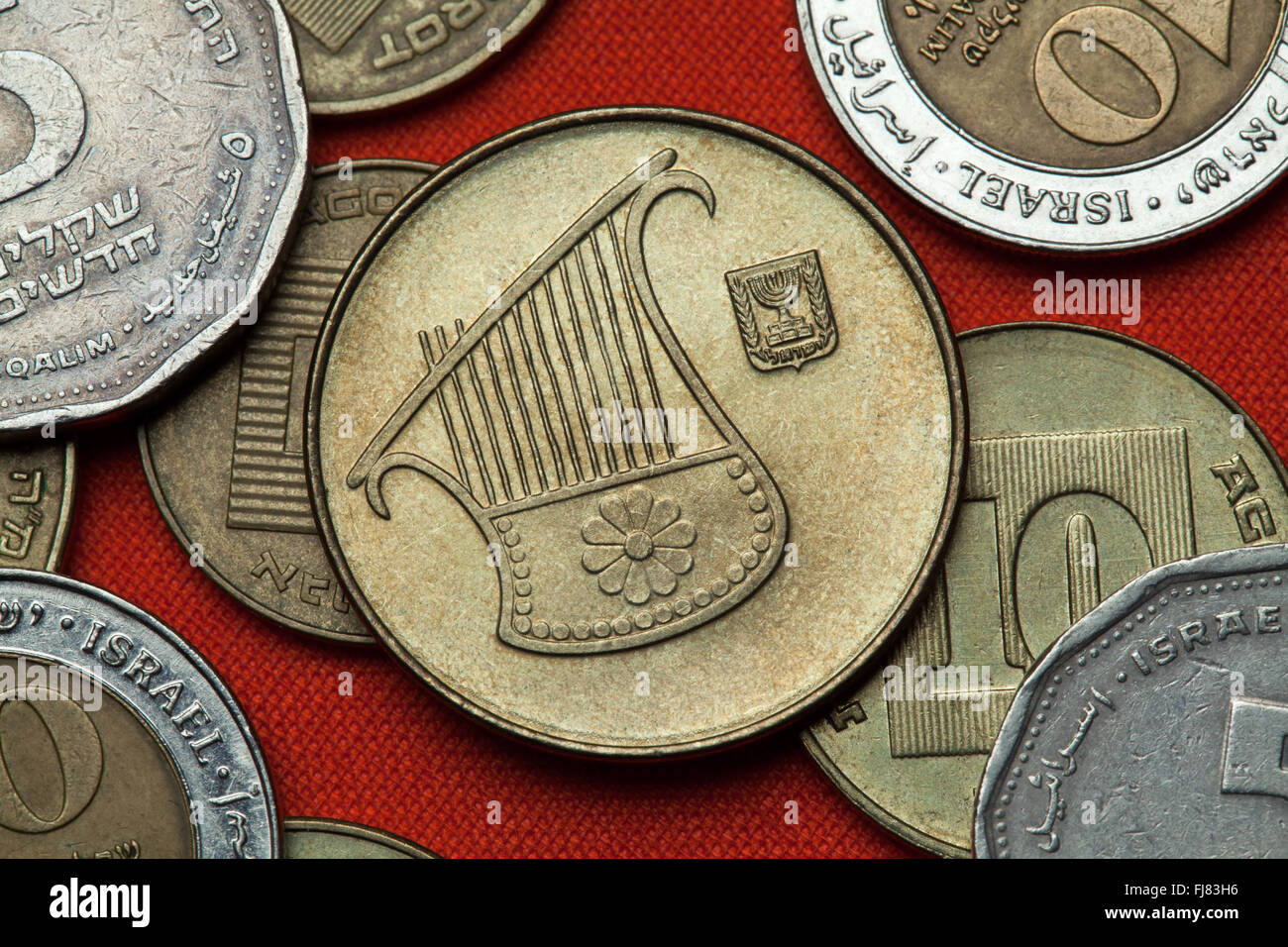 Coins of Israel. Lyre depicted in the Israeli half new shekel coin. - Stock Image