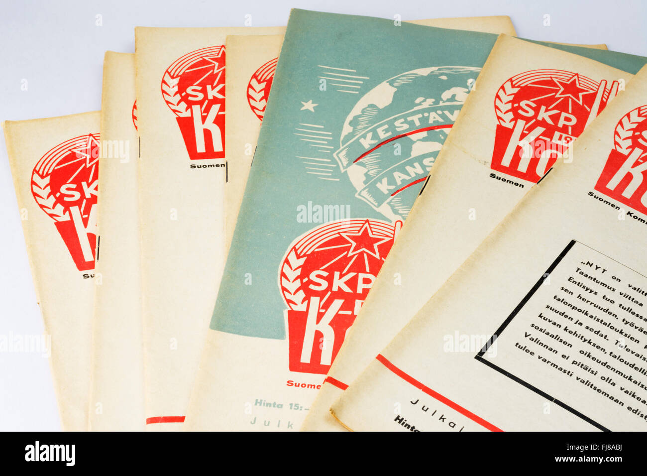Kommunisti (Communist) is a Commist Party Publication in Finnish published between 1944–1990. These are from year - Stock Image