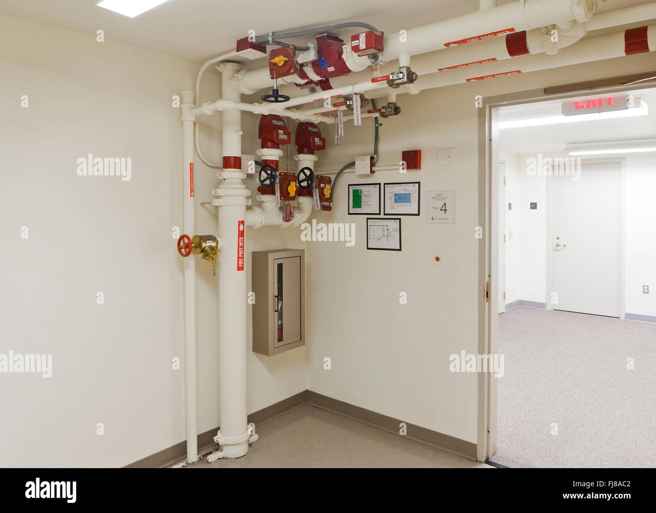 Plumbing control valve (Hydraulic control valve, water control valve) in commercial building - USA - Stock Image