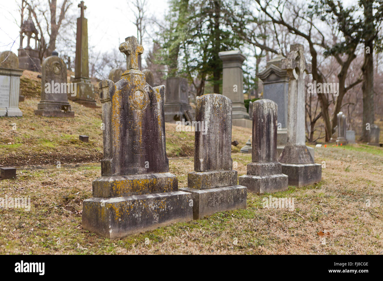 Old gravestones at Oak Hill Cemetery, Georgetown - Washington, DC USA - Stock Image