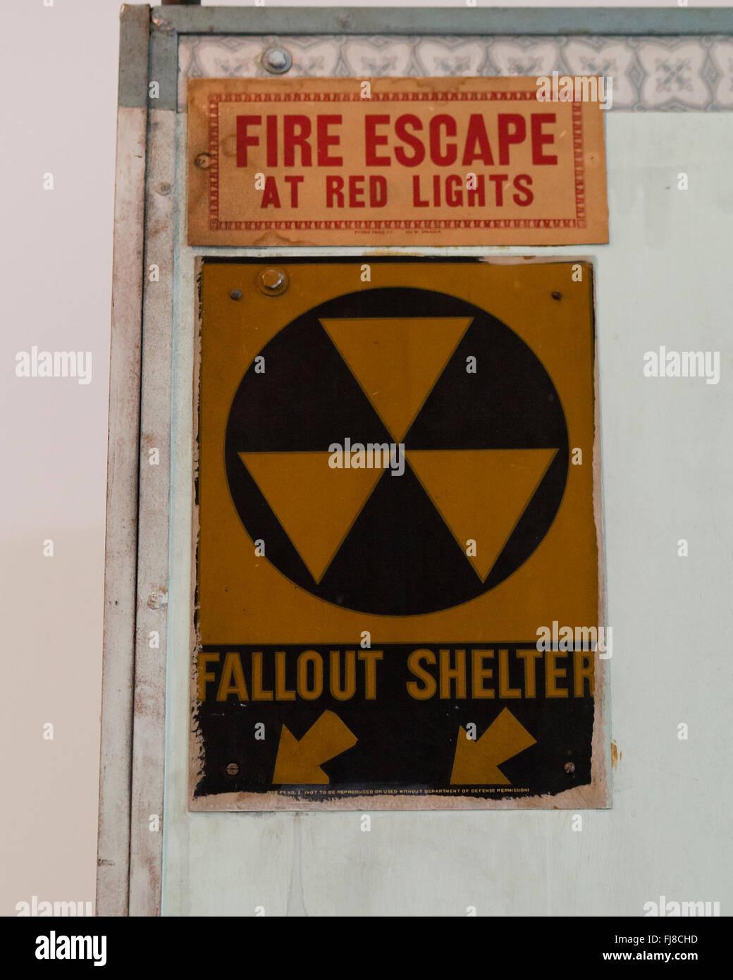 Fallout shelter sign on building entrance - Washington DC Stock Photo