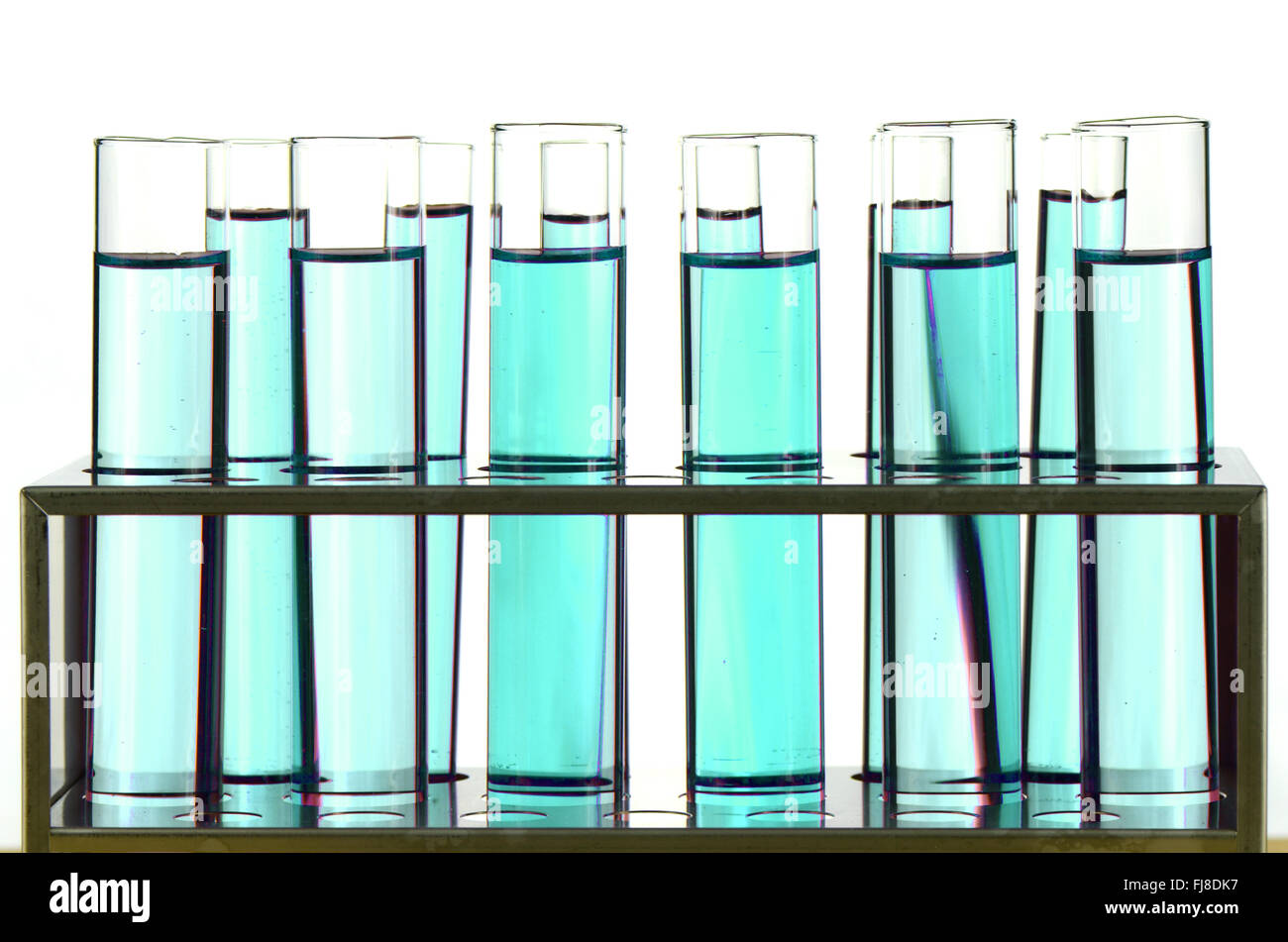 Test Tube in Close-up on White Background. Stock Photo