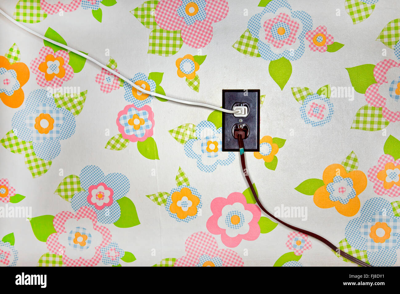 Two power cords coming out of an outlet on a flowered wallpaper wall two power cords coming out of an outlet on a flowered wallpaper wall mightylinksfo