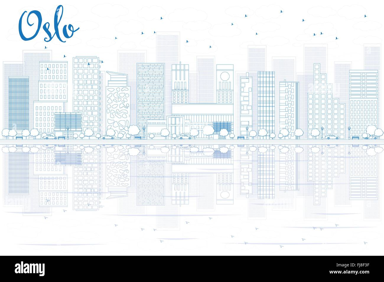 Outline Oslo Skyline with Blue Buildings and reflections. Vector Illustration. Business travel and tourism concept - Stock Vector