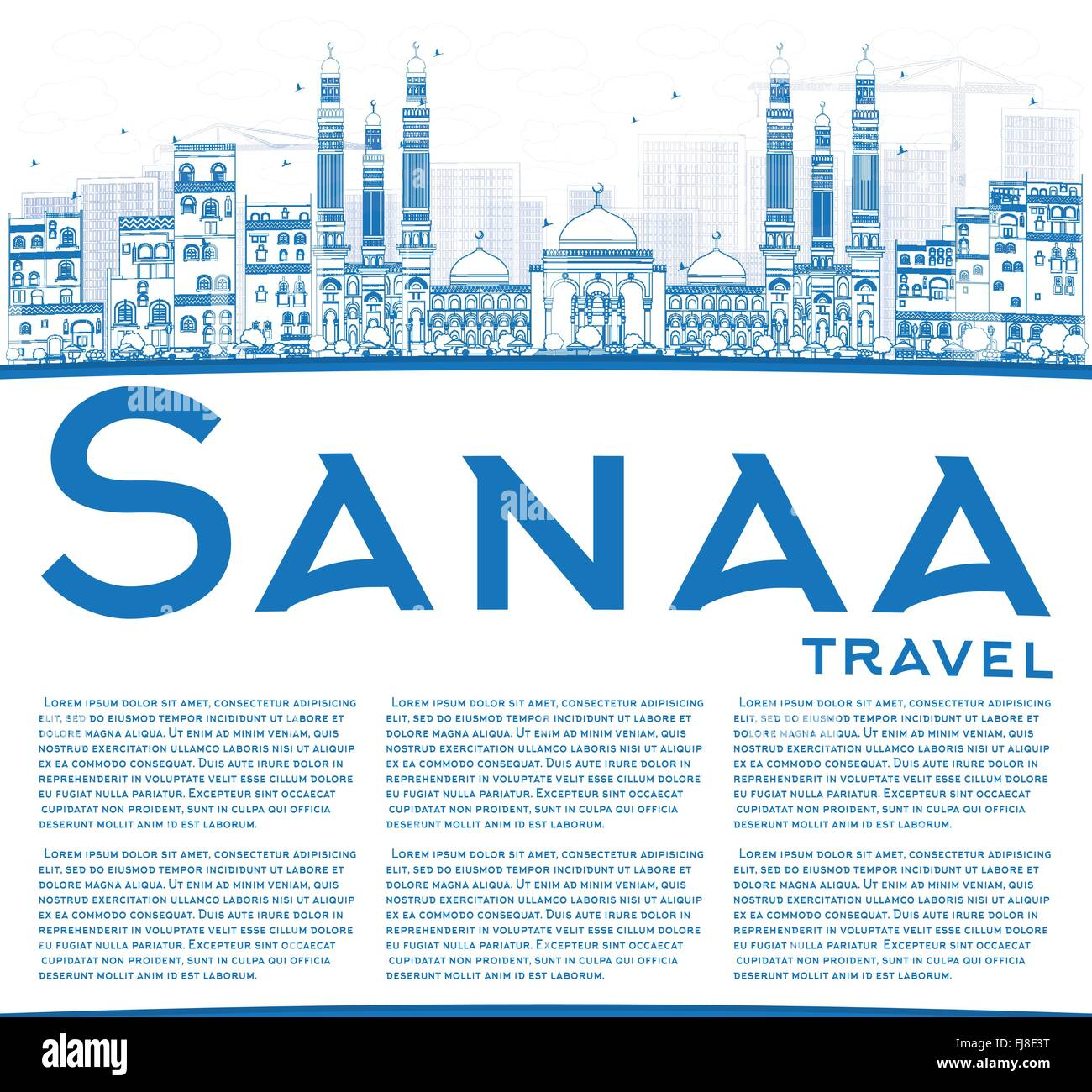 Outline Sanaa (Yemen) Skyline with Blue Buildings. Vector Illustration. Business Travel and Tourism Concept with - Stock Vector