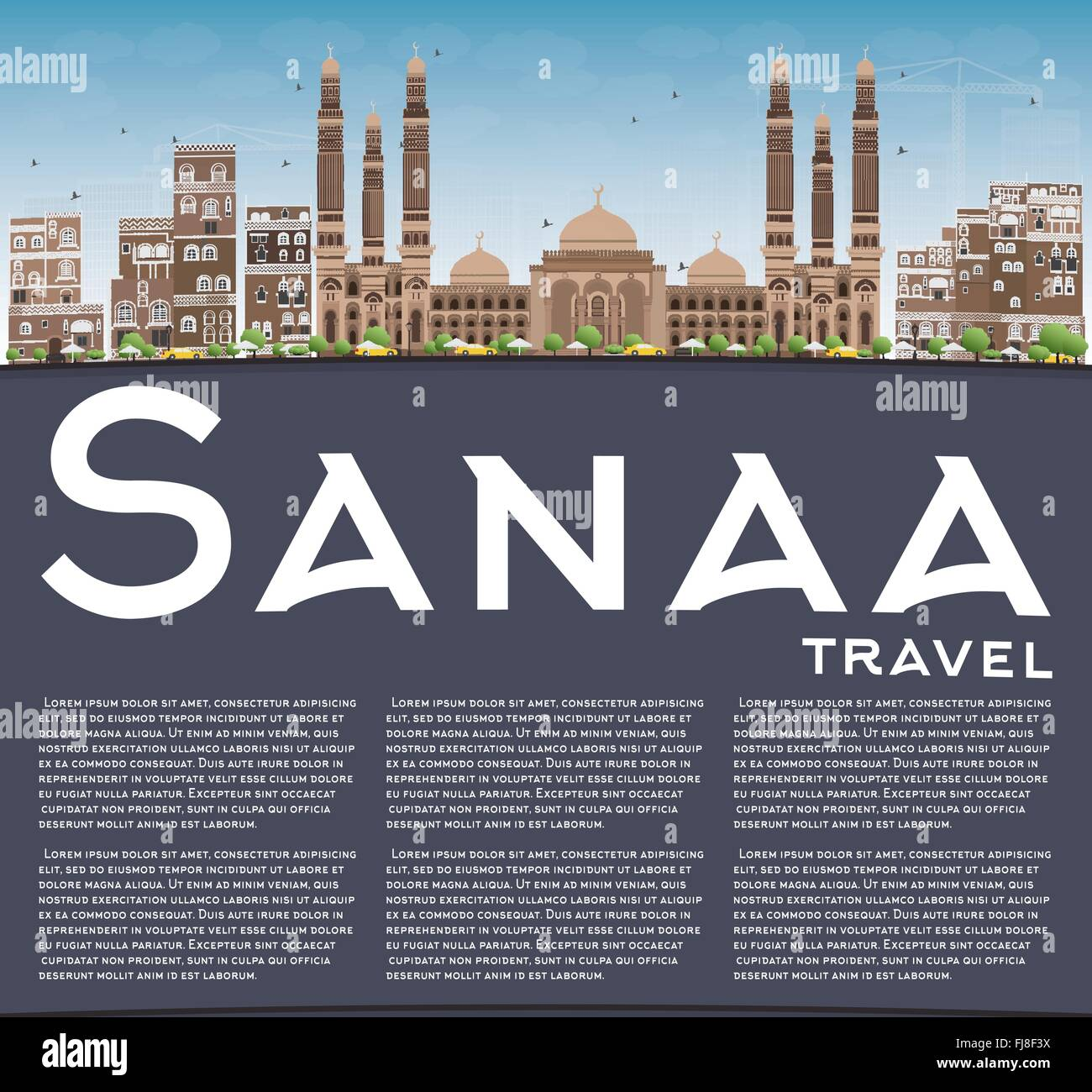Sanaa (Yemen) Skyline with Brown Buildings and Copy Space. Vector Illustration. Business Travel and Tourism Concept - Stock Vector