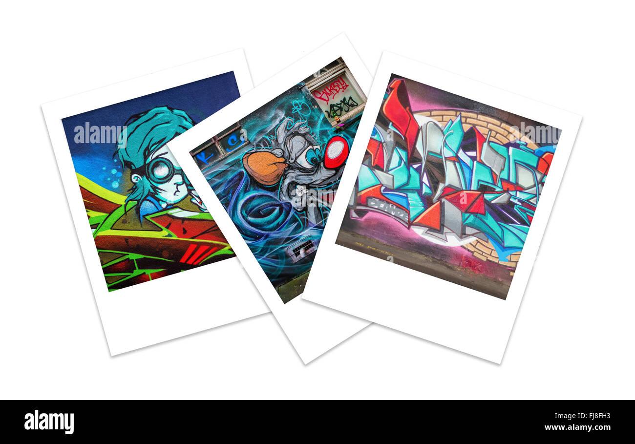 Three Polaroid Photos of Graffiti with Copy Space - Stock Image