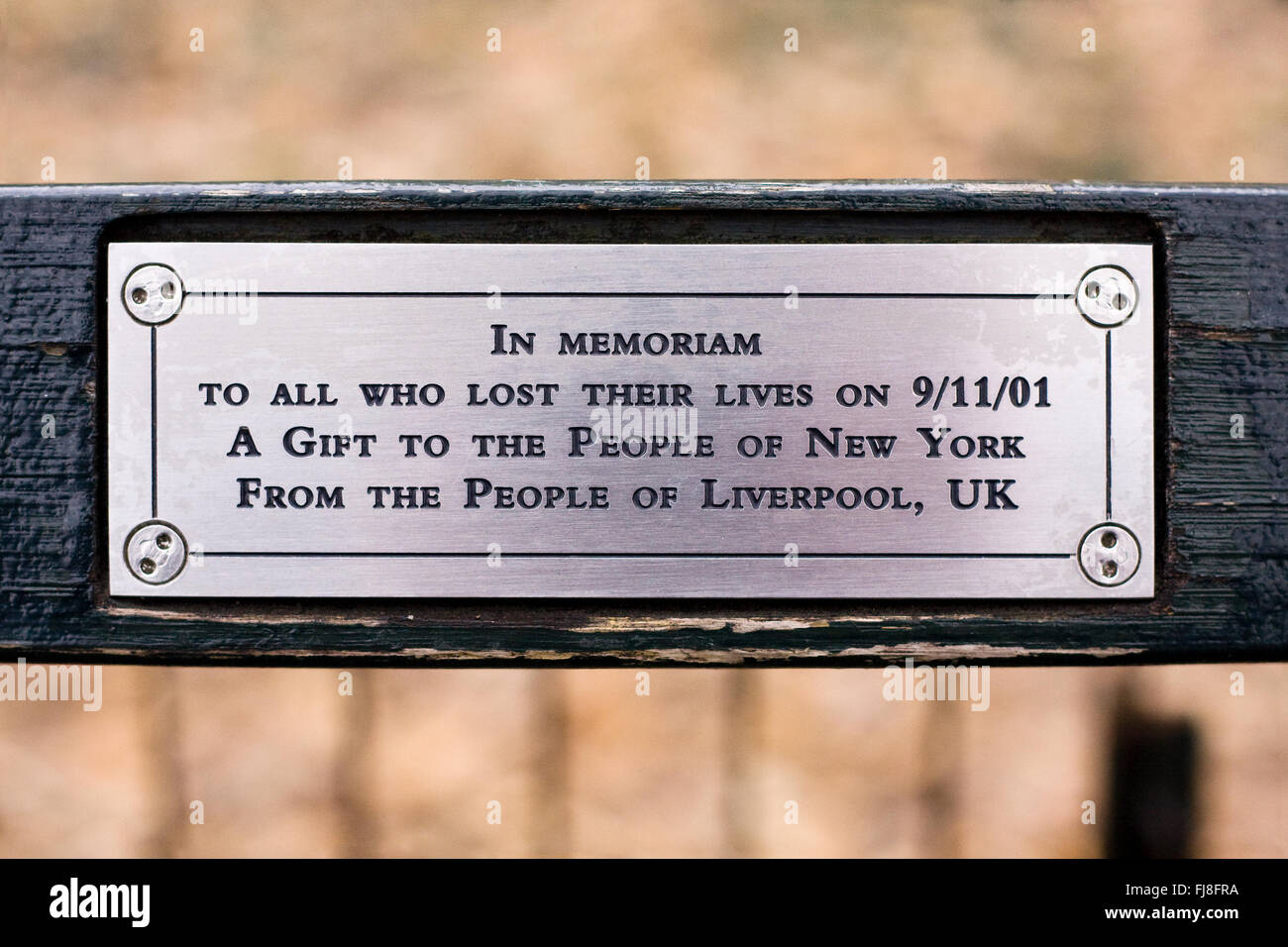 Plaque On A Park Bench At The John Lennon Quot Imagine