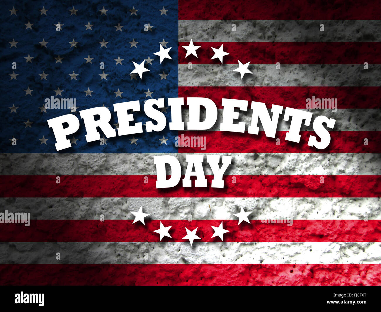 Presidents Day USA card with american flag grunge background - Stock Image