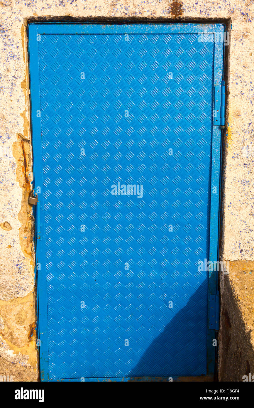Sheet metal door in blue Stock Photo