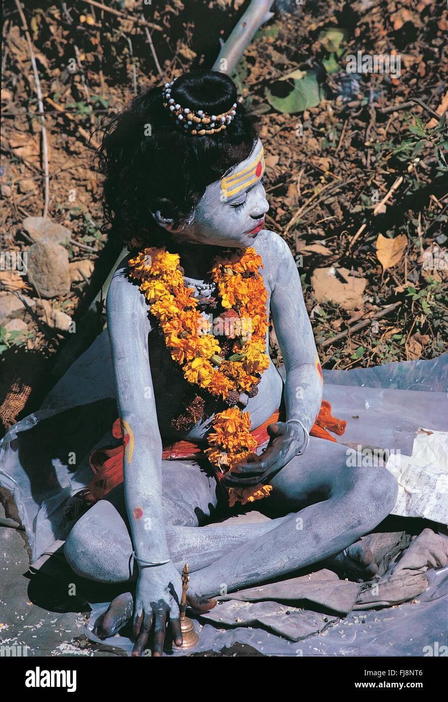 Child boy look alike shiva, varanasi, uttar pradesh, india, asia - Stock Image