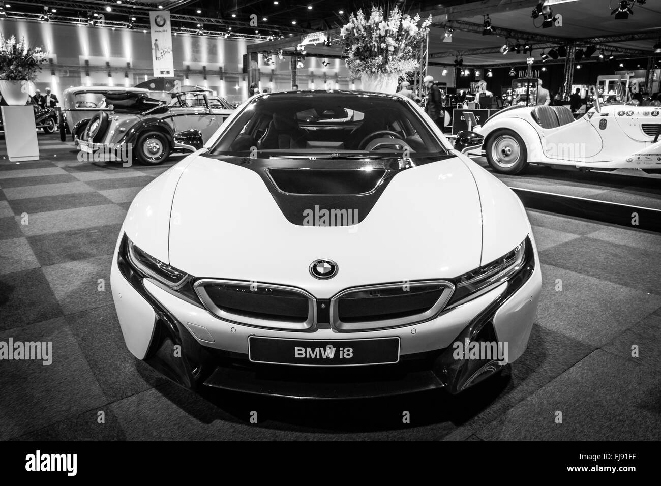 plug in hybrid sports car bmw i8 black and white stock photo