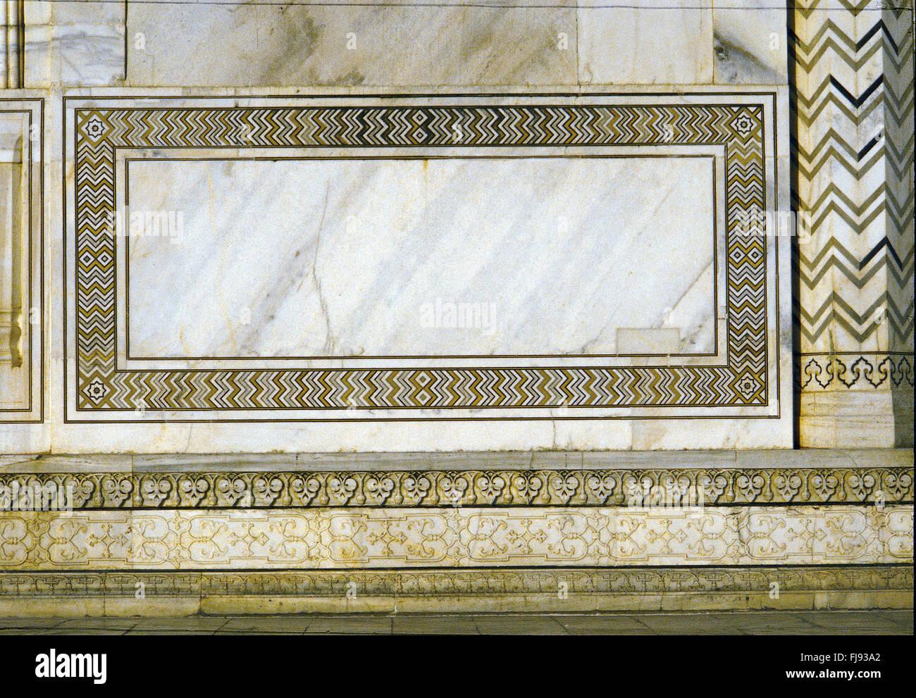 Decorative pattern design, taj mahal, agra, delhi, india, asia - Stock Image
