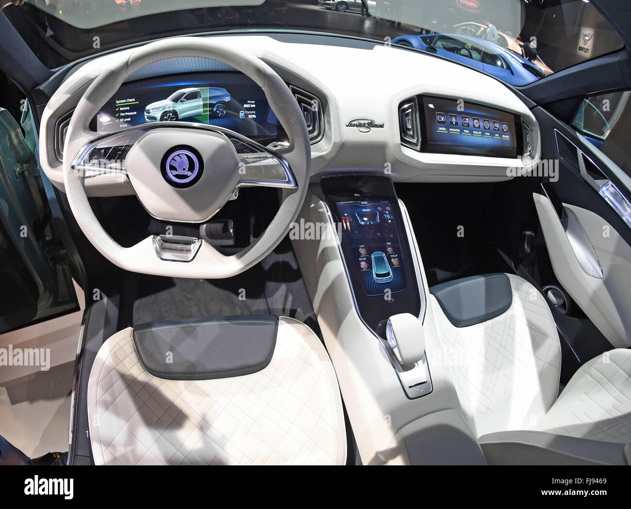 geneva switzerland 29th feb 2016 interior view of a skoda vision stock photo 97316529 alamy. Black Bedroom Furniture Sets. Home Design Ideas