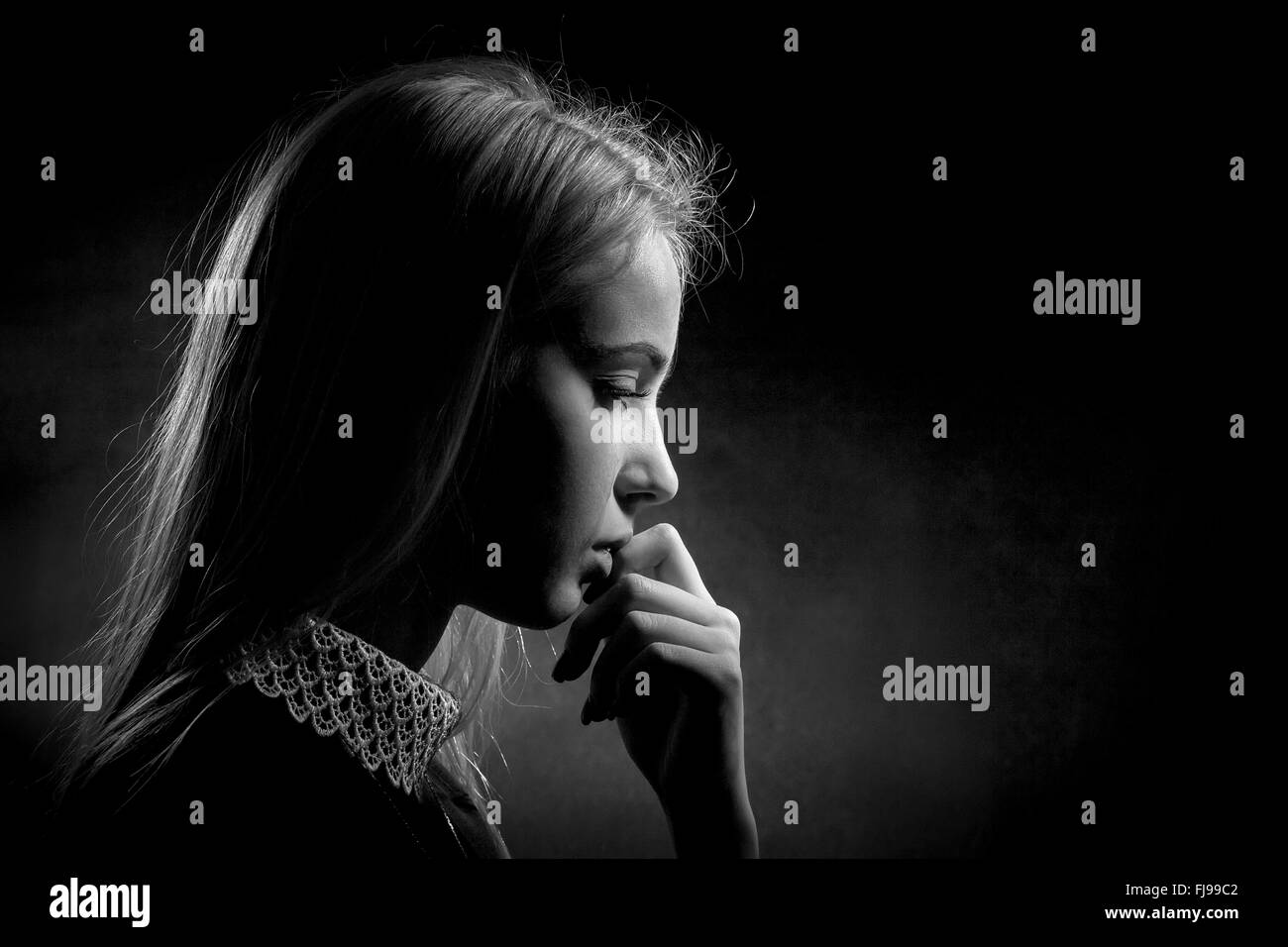 Young Girl Crying Black And White Stock Photos  Images -6319