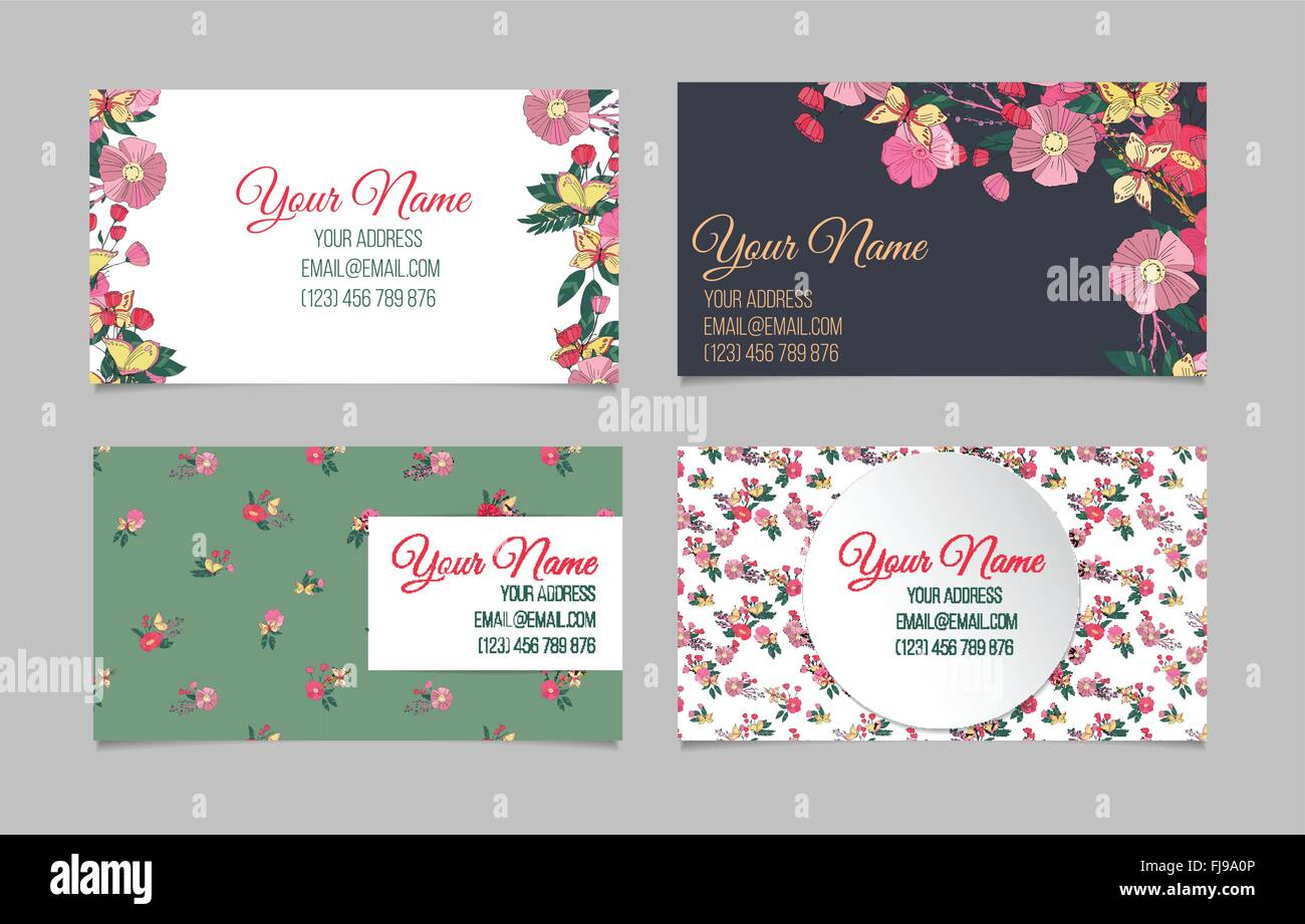 Set of four floral business cards Stock Vector Art & Illustration ...