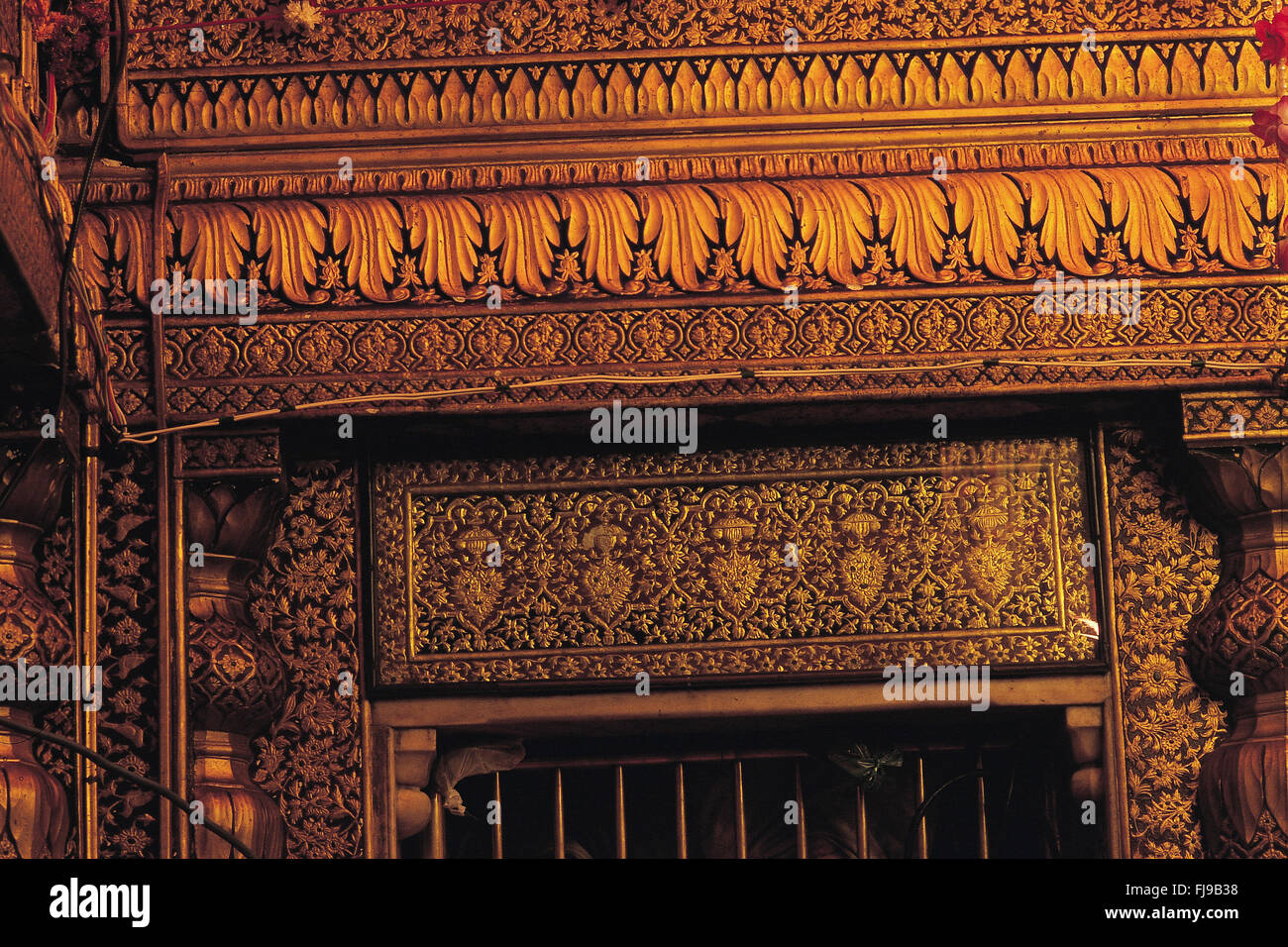 Gold plate embossed golden temple, amritsar, punjab, india, asia - Stock Image
