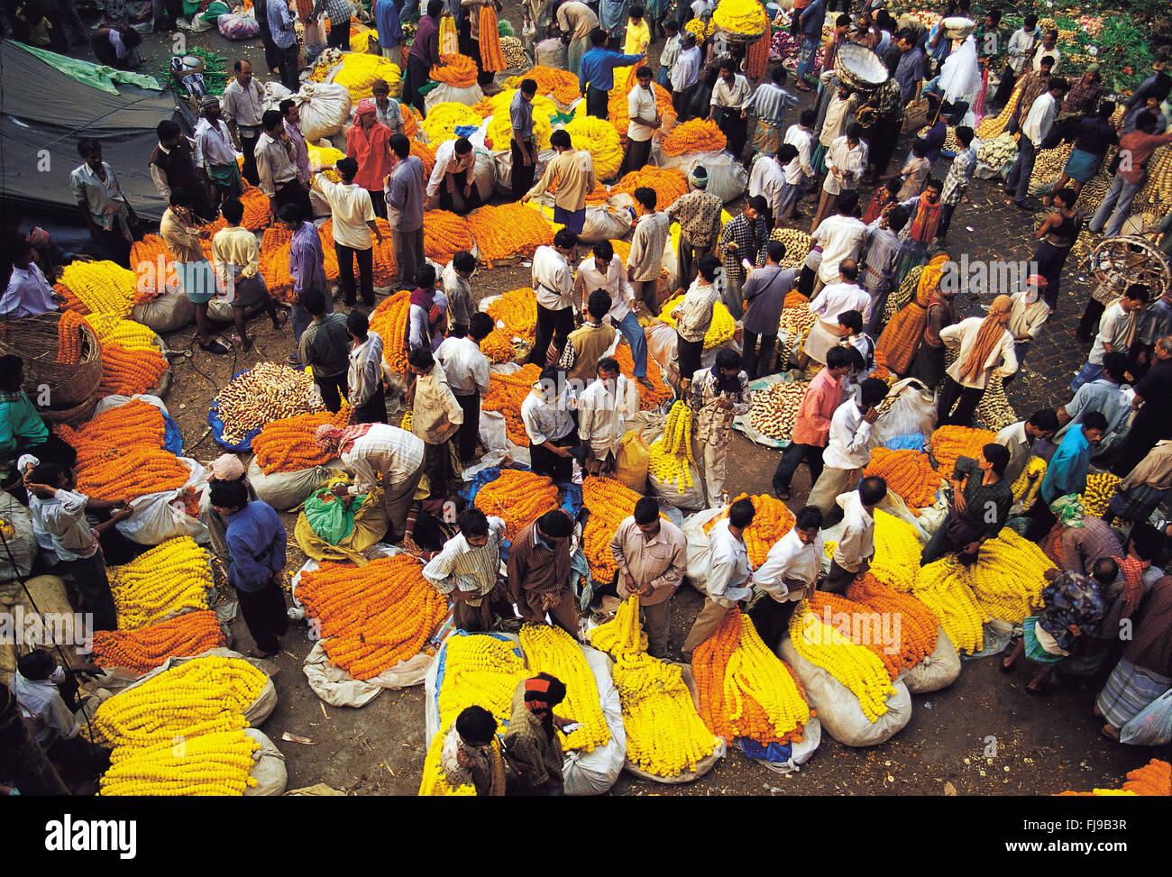 Flower market, kolkata, west bengal, india, asia - Stock Image