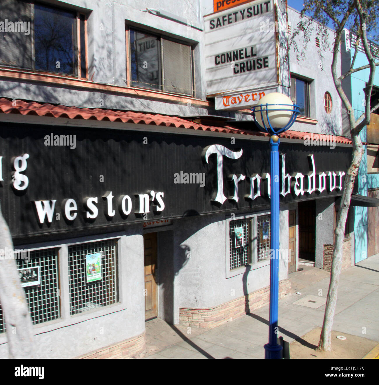 the front facade of Doug Weston's Troubadour Club venue in Beverly Hills, Los Angeles, USA - Stock Image