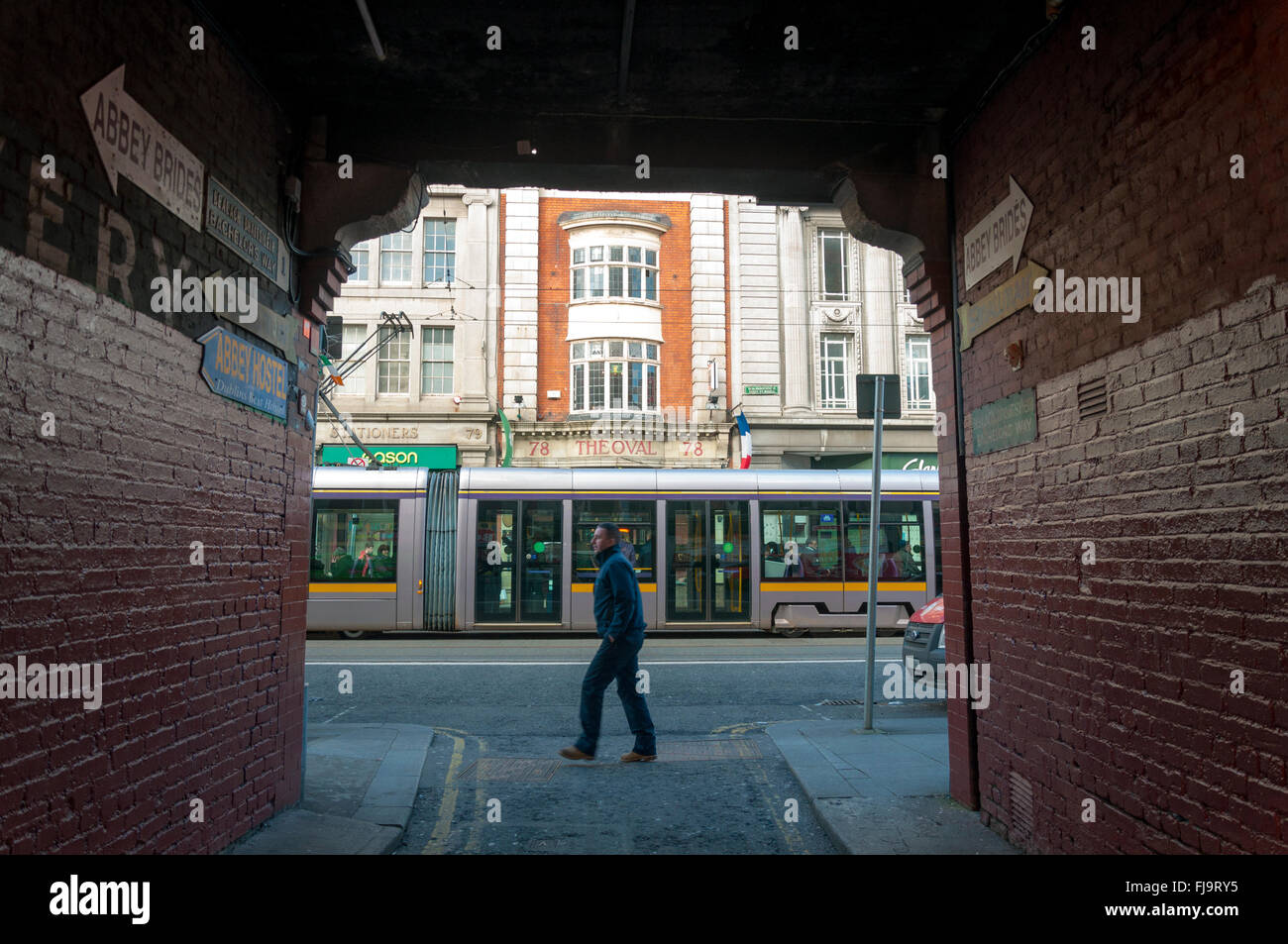 Street view and LUAS tram in Dublin, Ireland - Stock Image