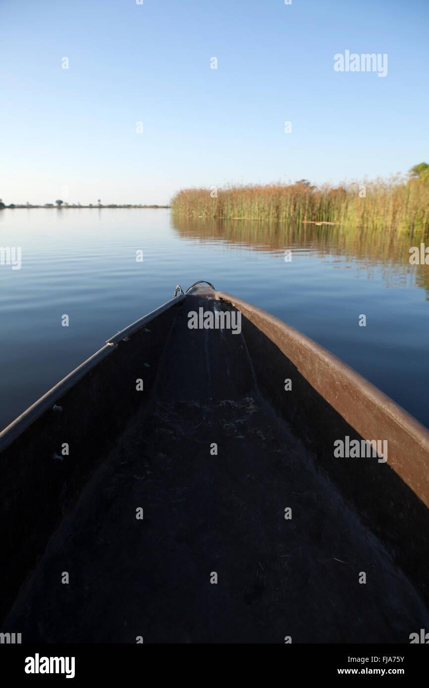 Mokoro on the Okavango Delta - Stock Image