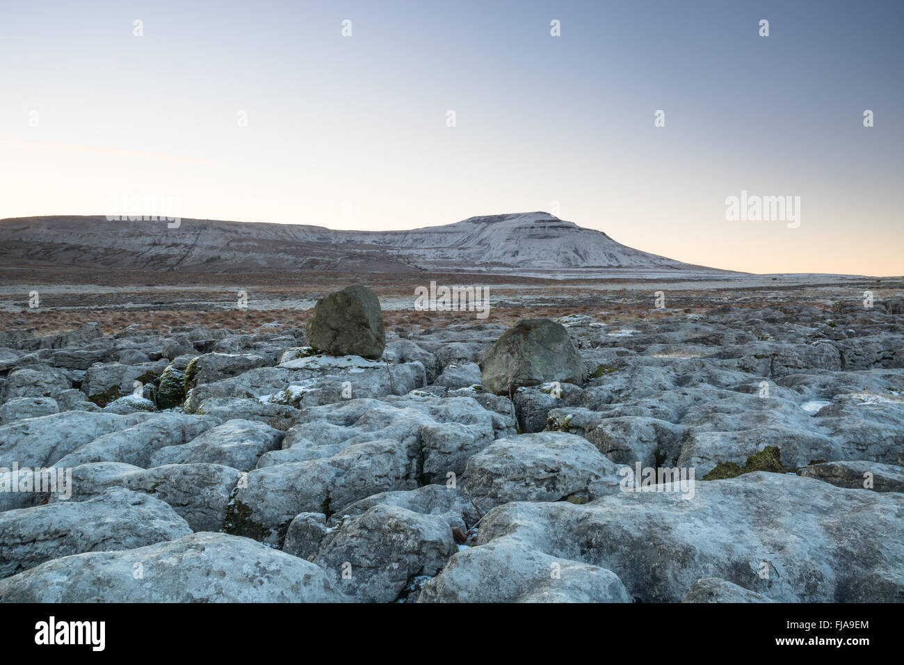 Winter at Ingleborough, one of the Yorkshire Dales three peaks - Stock Image