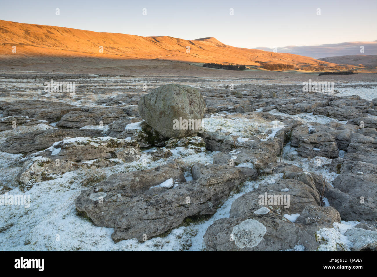 Winter sun on Whernside, one of the Yorkshire Dales three peaks - Stock Image