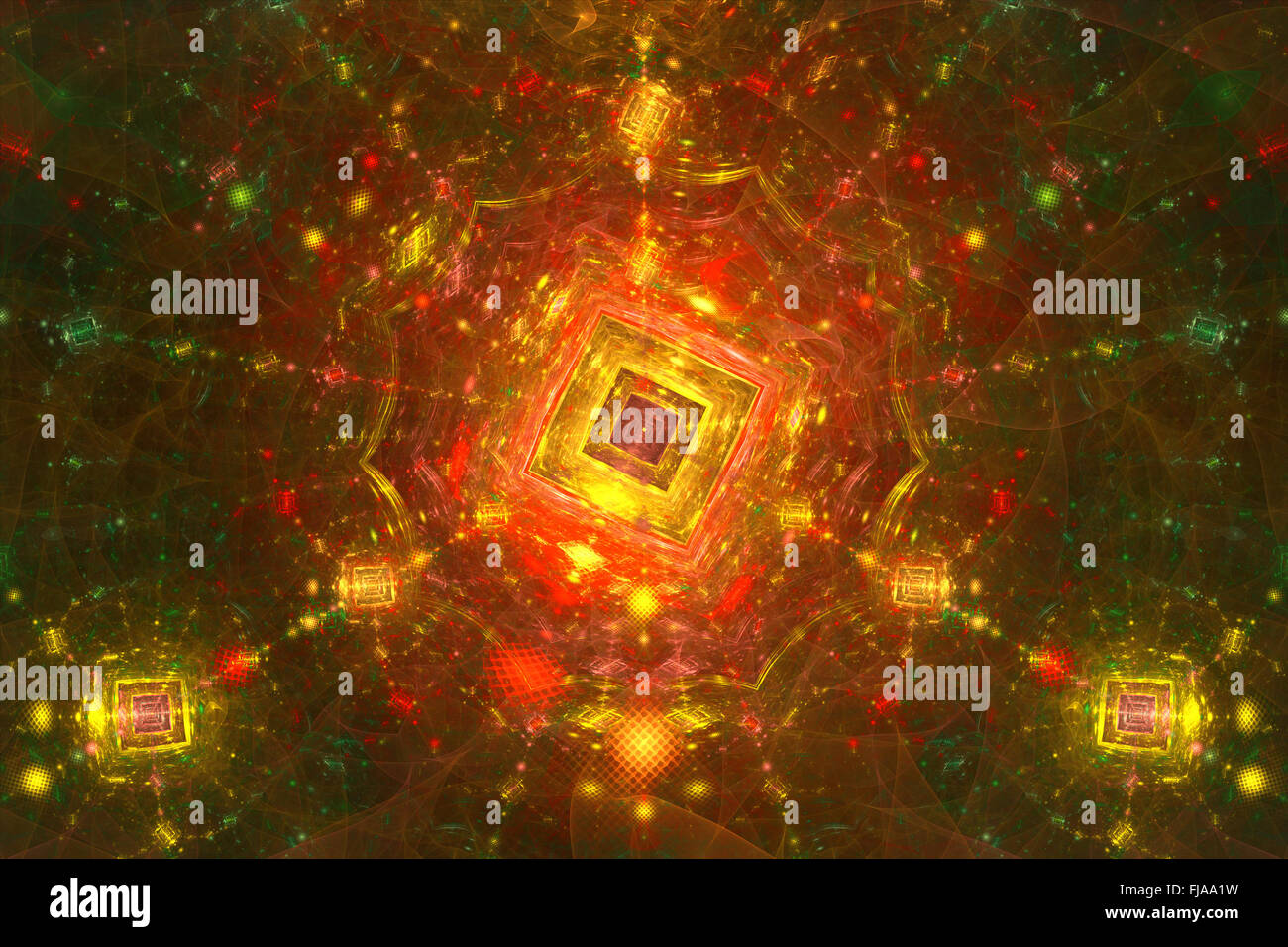 Connceted world of fractals, abstract background - Stock Image