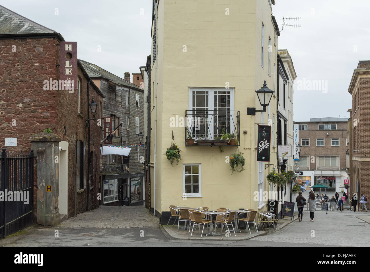 The Hole in the Wall sports bar and restaurant and Cafe Espresso - Exeter City Centre, England, UK - Stock Image