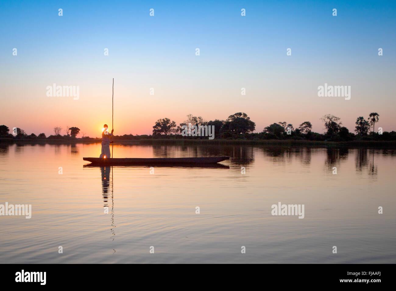 Mokoro in Okavango Delta - Stock Image