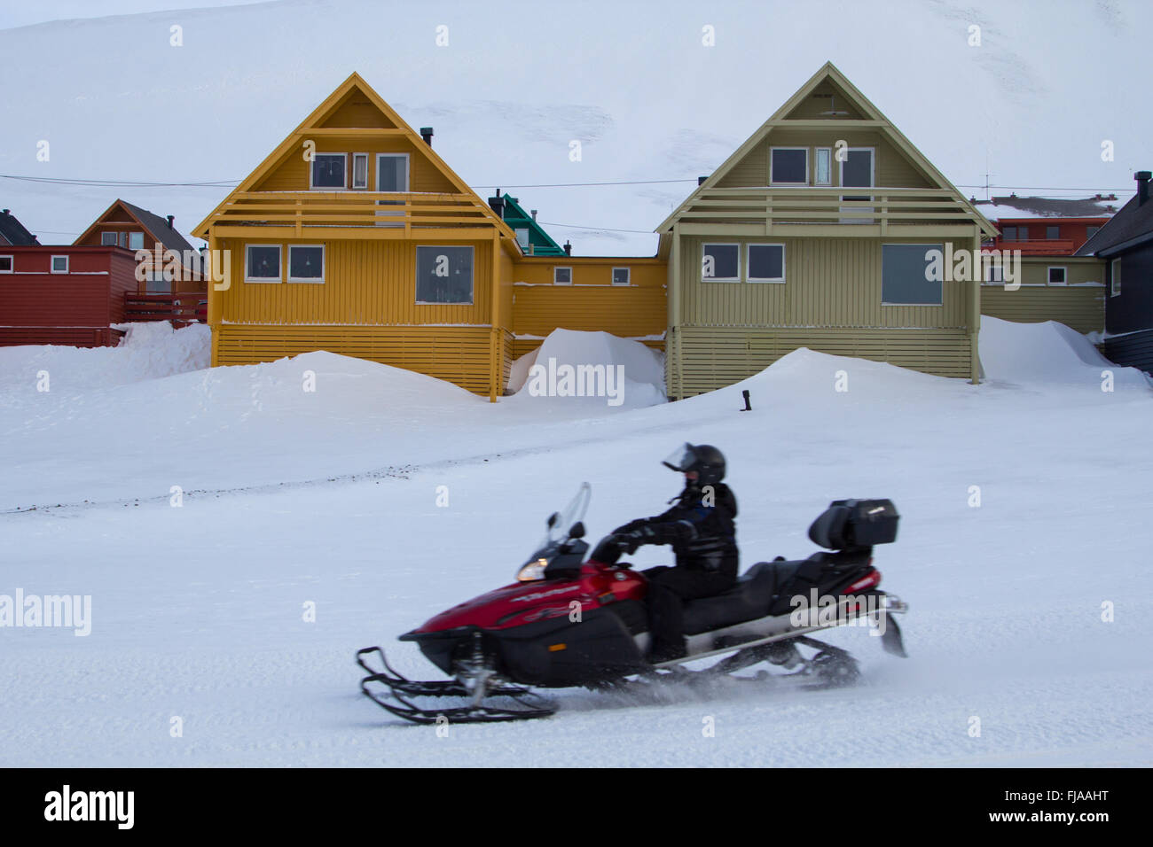 A city details of Longyearbyen - the most Northern settlement in the world. Spitsbergen (Svalbard), Norway. - Stock Image