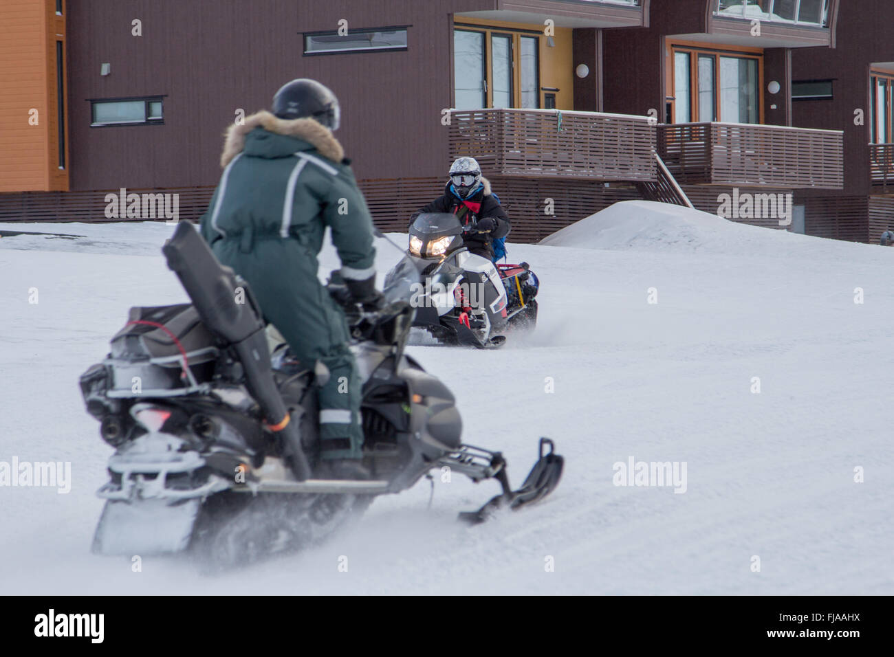 Snowmobile is the best transportation  in Longyearbyen, Spitsbergen (Svalbard). Norway - Stock Image