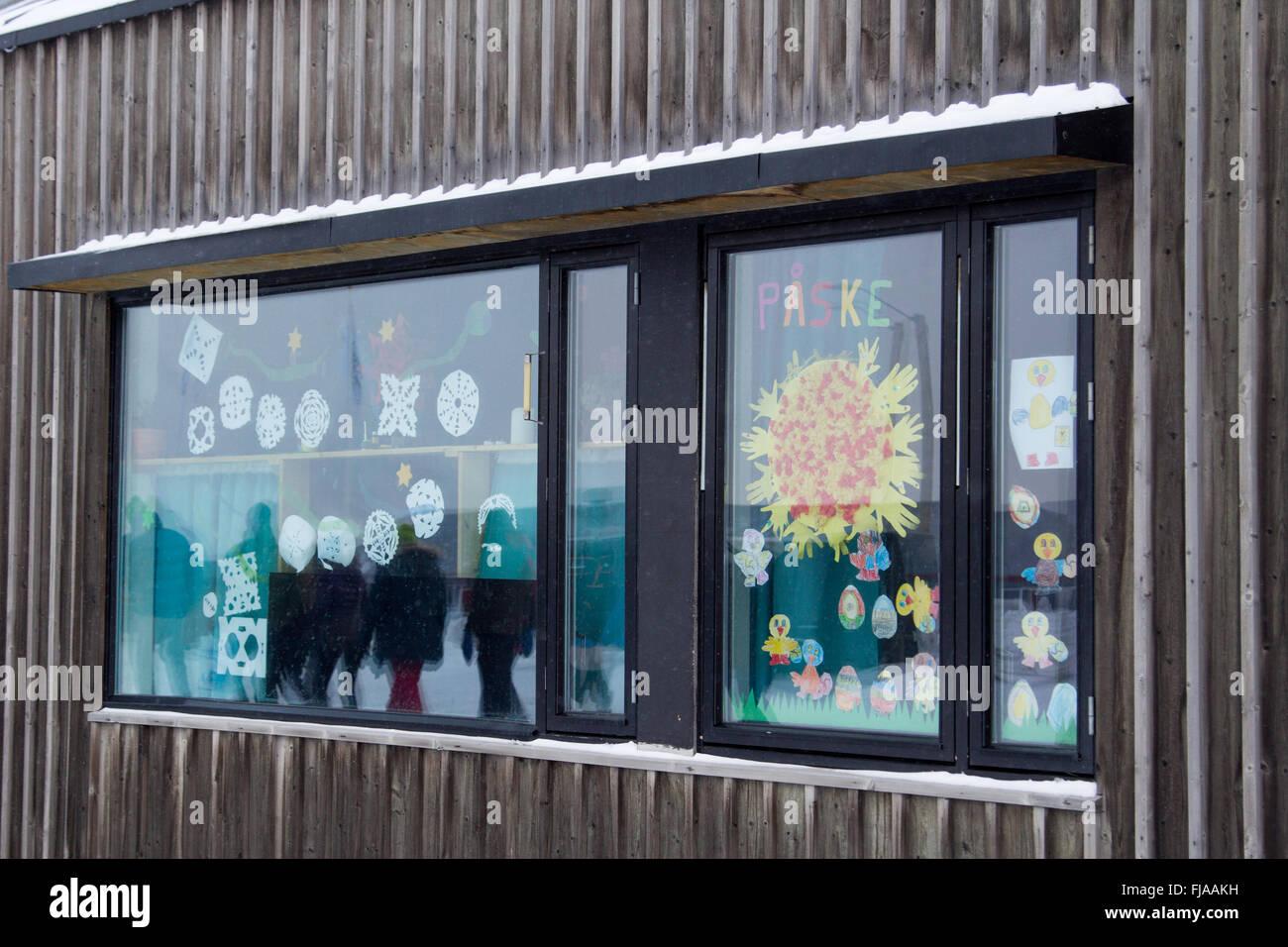 Holiday window. Easter in Longyearbyen, Spitsbergen (Svalbard). Norway - Stock Image