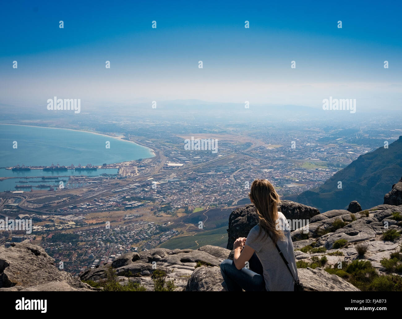 Meditation on Table Mountain, Cape Town, Western Cape, South Africa - Stock Image