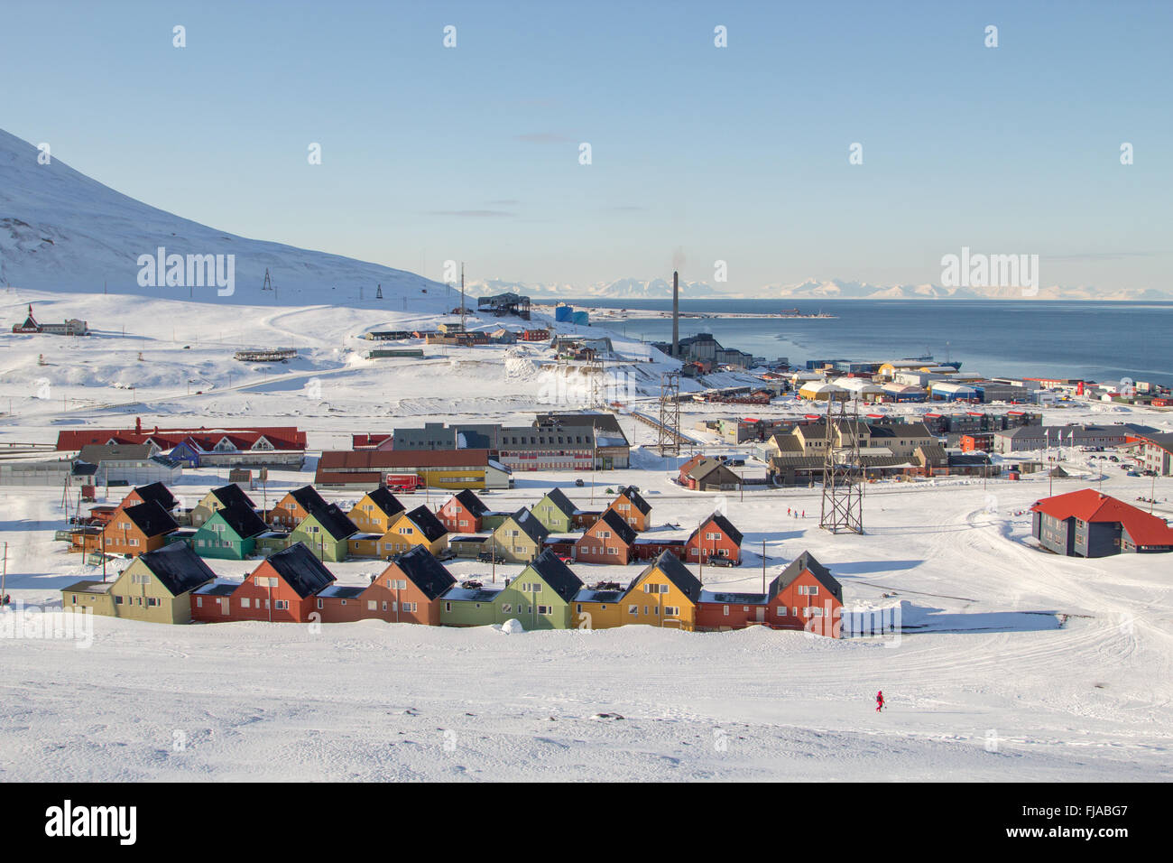 A city details of Longyearbyen - the most Northern settlement in the world. Spitsbergen (Svalbard). Norway. - Stock Image