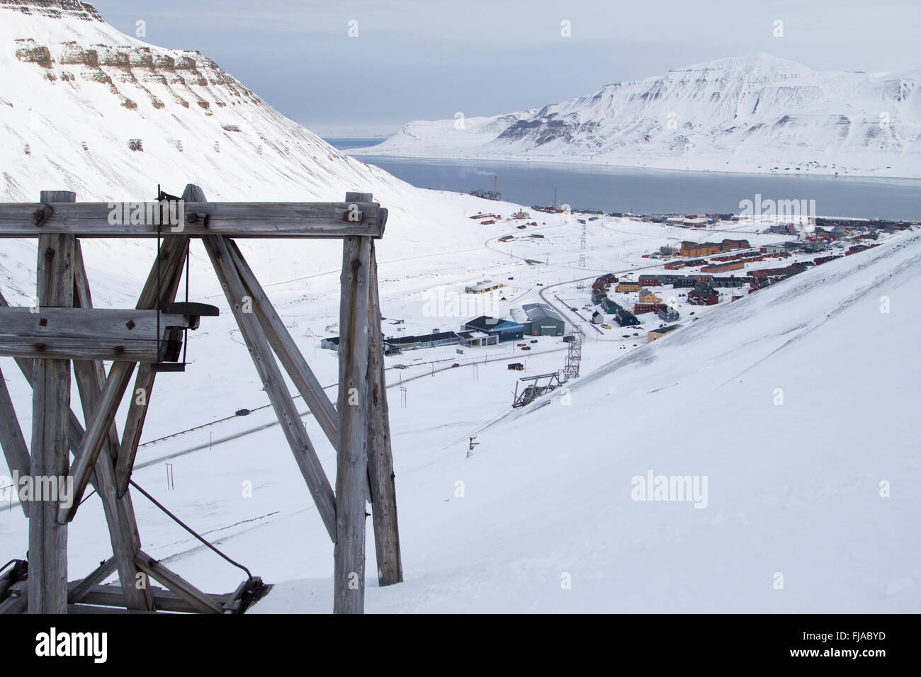 A town details of Longyearbyen - the most Northern settlement in the world. Spitsbergen (Svalbard). Norway. - Stock Image