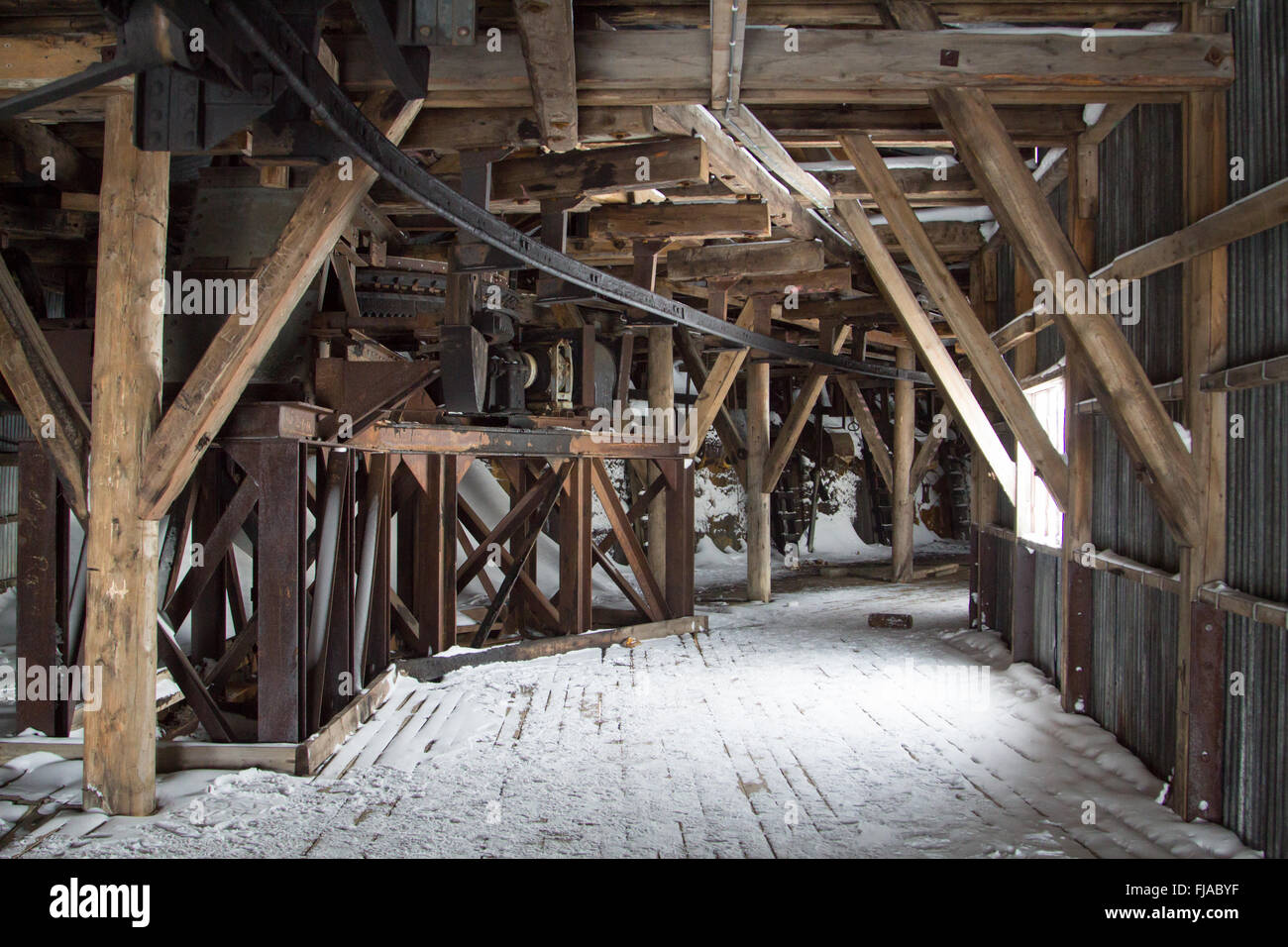 Machinery inside of an abandoned Arctic coal mine buildings in Longyearbyen, Spitsbergen (Svalbard). Norway - Stock Image