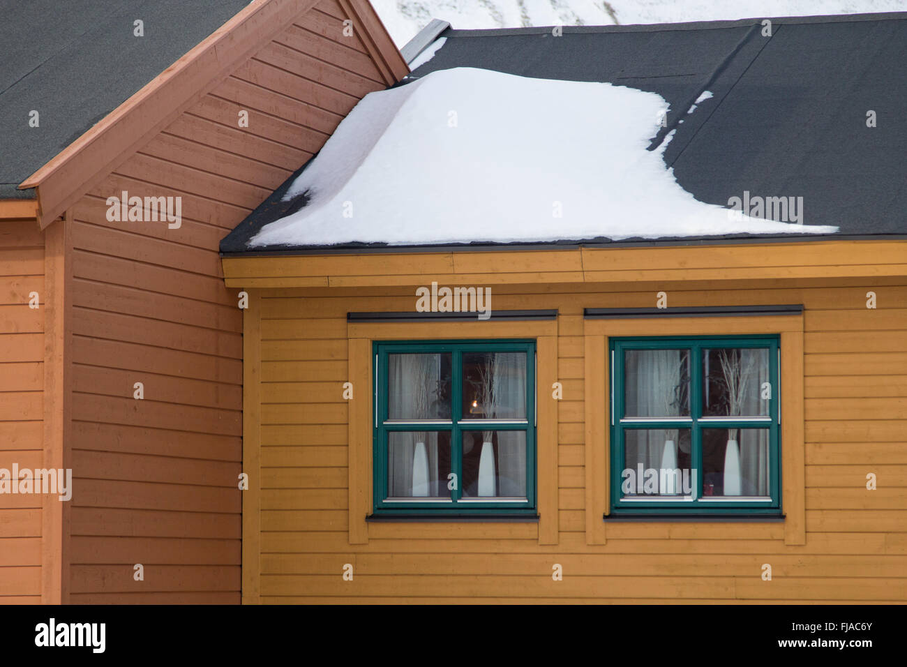 House in the town of Longyearbyen - the most Northern settlement in the world. Spitsbergen (Svalbard). Norway. - Stock Image