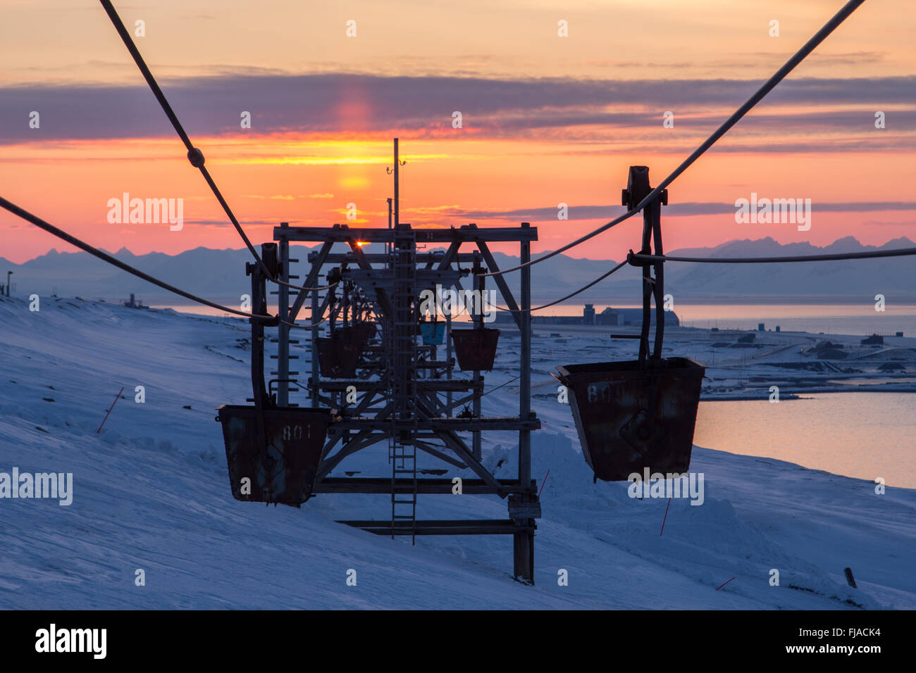 Old cableway to coal transporting  in Longyearbyen, Spitsbergen (Svalbard). Norway - Stock Image