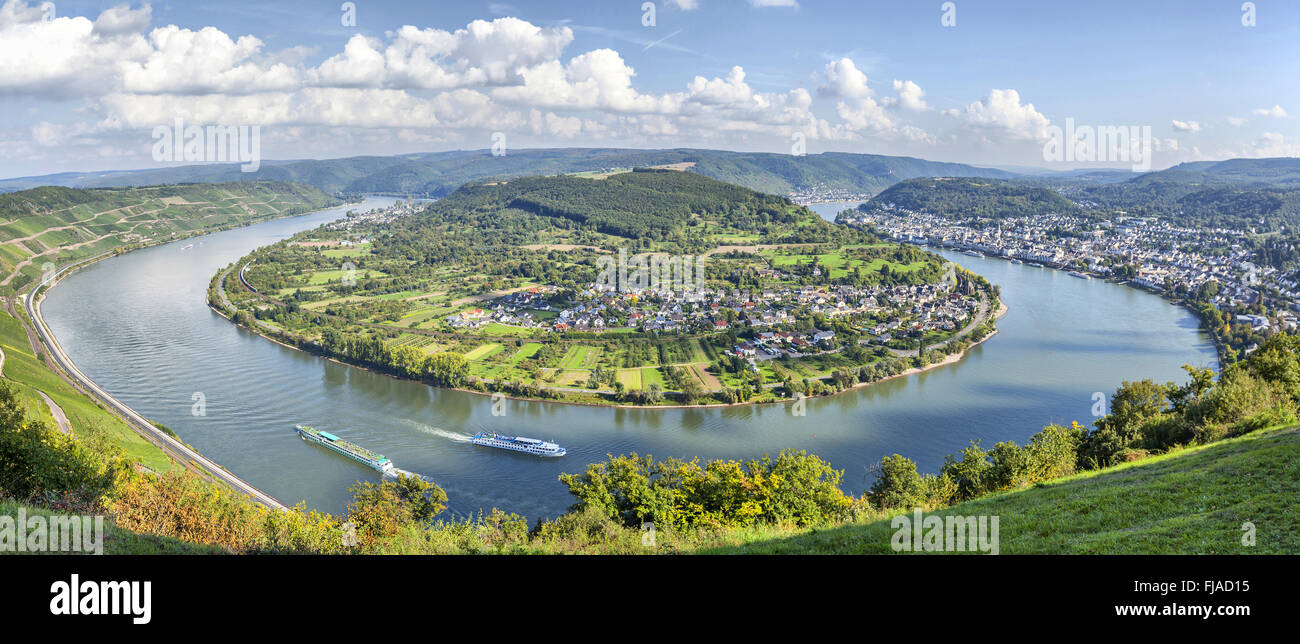 Picturesque bend of the river Rhine near the town Filsen, Germany, Rhineland-Palatinate Stock Photo