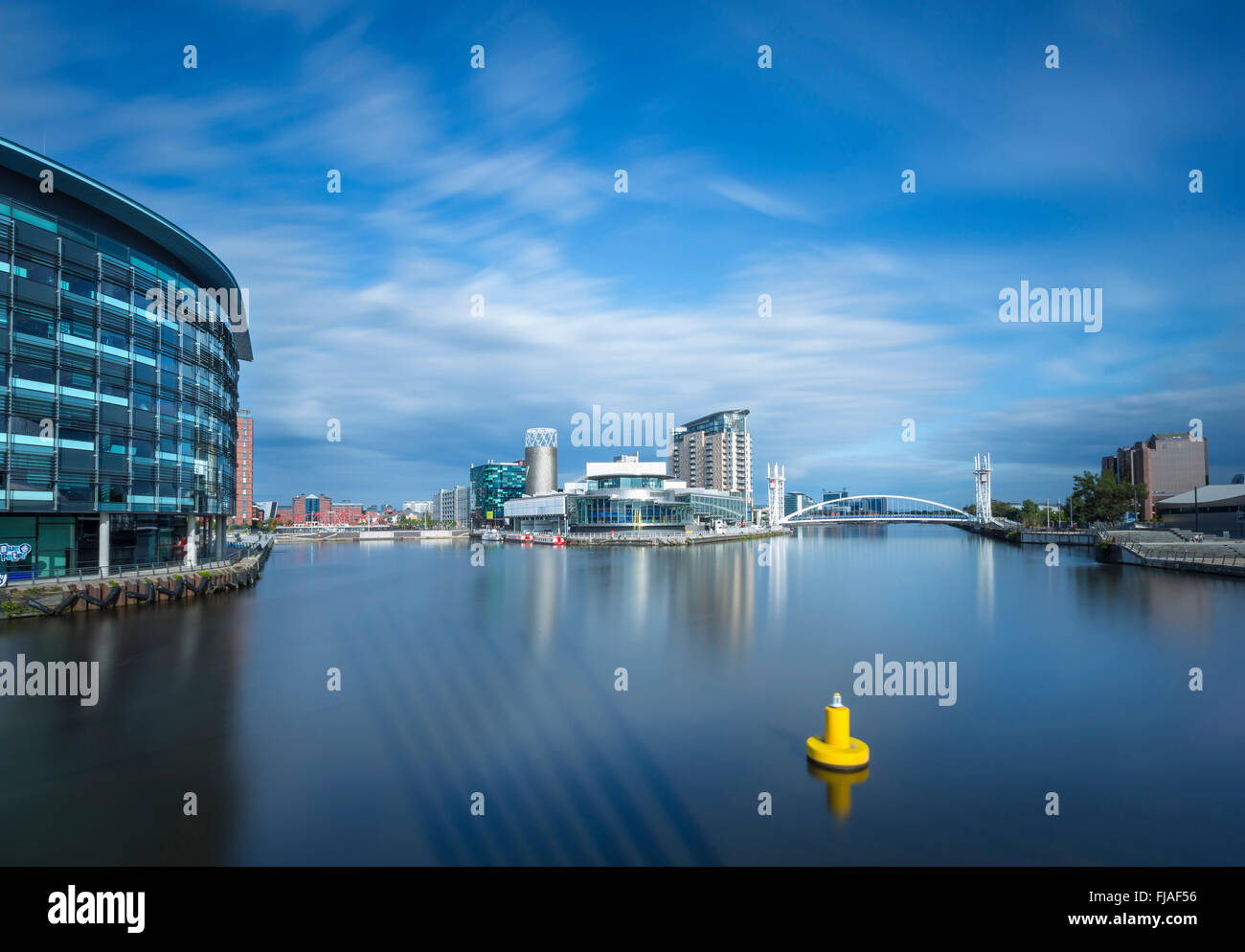 View of the basin at Salford Quays subject of massive regeneration investment. - Stock Image