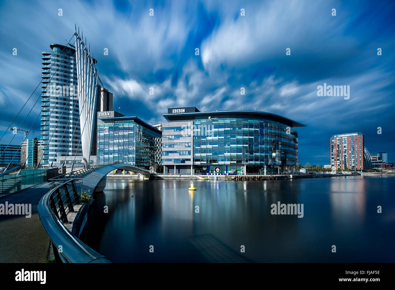 The BBC Centre and Media City at Salford Quays. - Stock Image