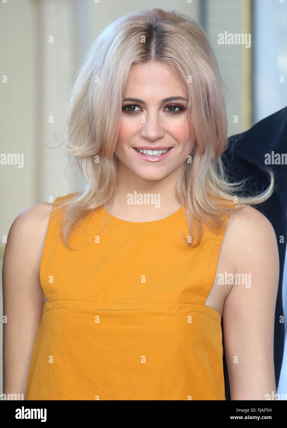 January 28, 2016 - Pixie Lott attending photocall for a new stage adaptation of Truman Capote's 'Breakfast - Stock Image