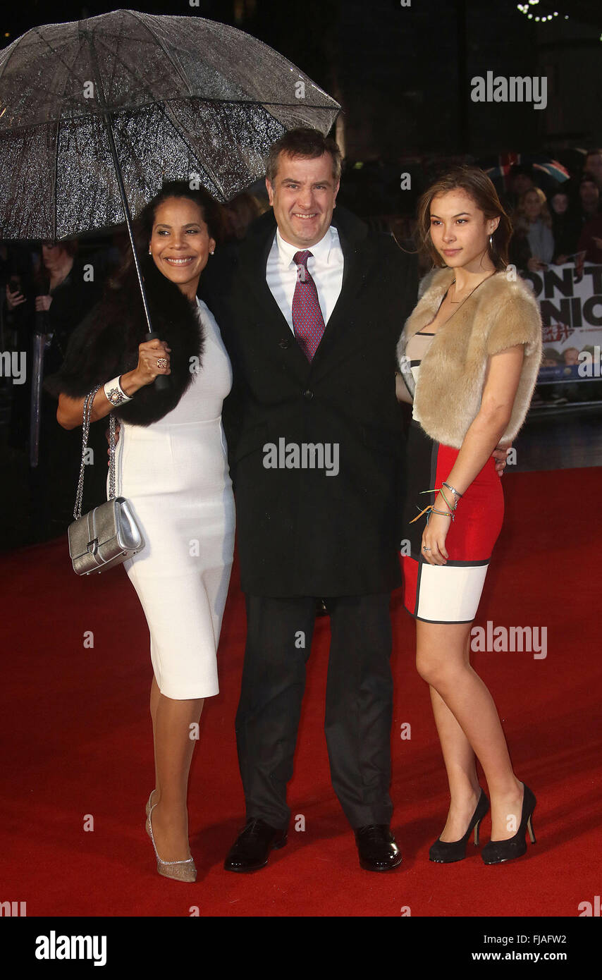 January 26, 2016 - Producer Damian Jones and family attending 'Dad's Army' World Premiere, Odeon Leicester - Stock Image