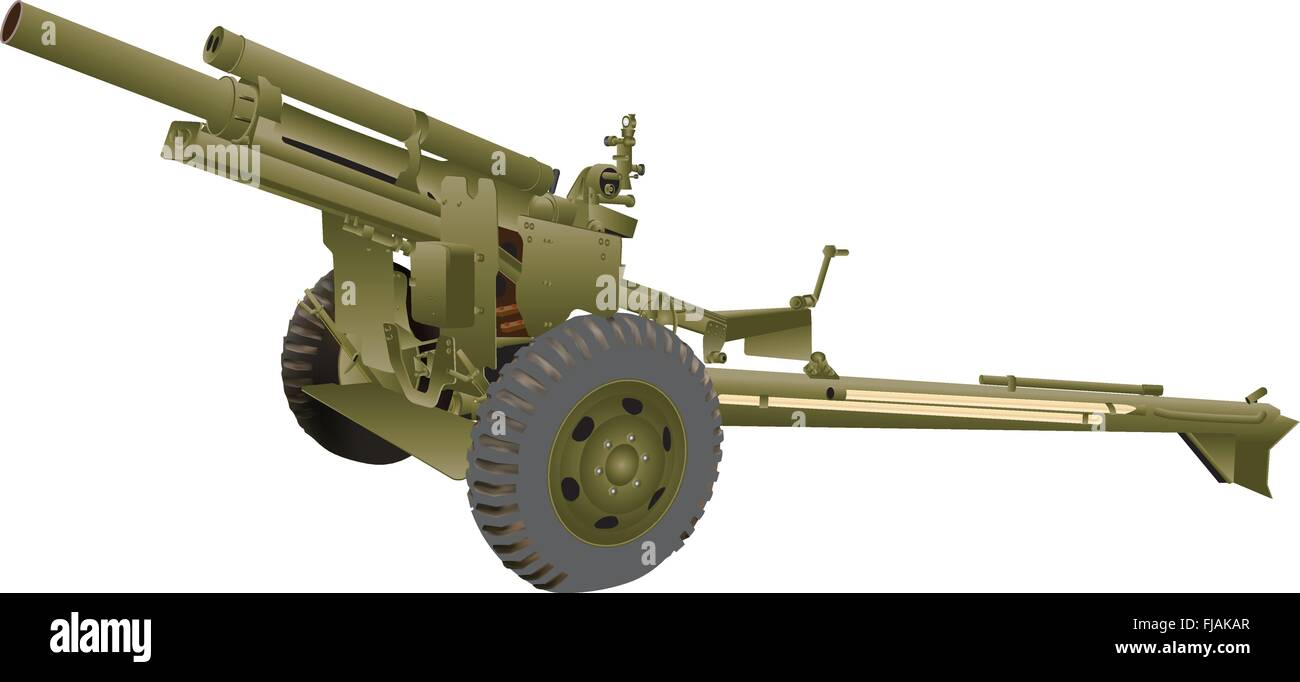 An Army Field Gun isolated on white - Stock Image