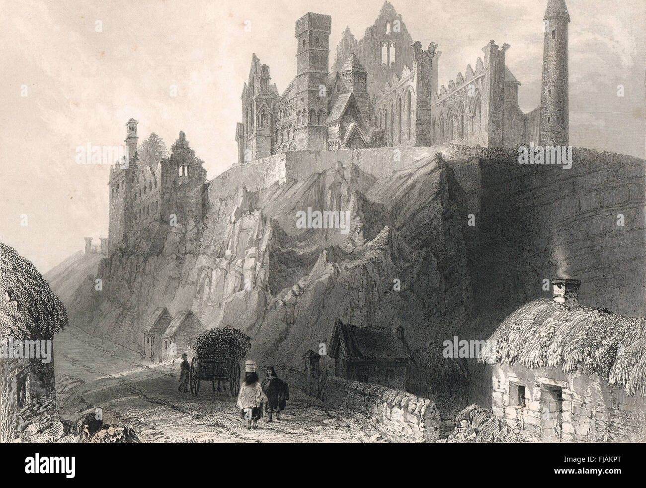 Rock of Cashel, Cashel of the Kings, County Tipperary , Ireland Engraving 1841 - Stock Image