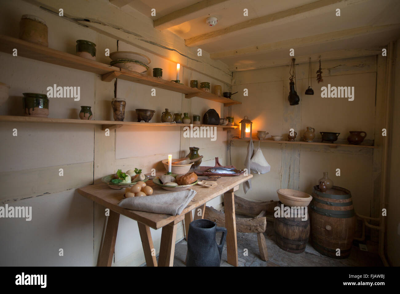 Parlour in Shakespeare's house, Stratford-upon-Avon, England - Stock Image