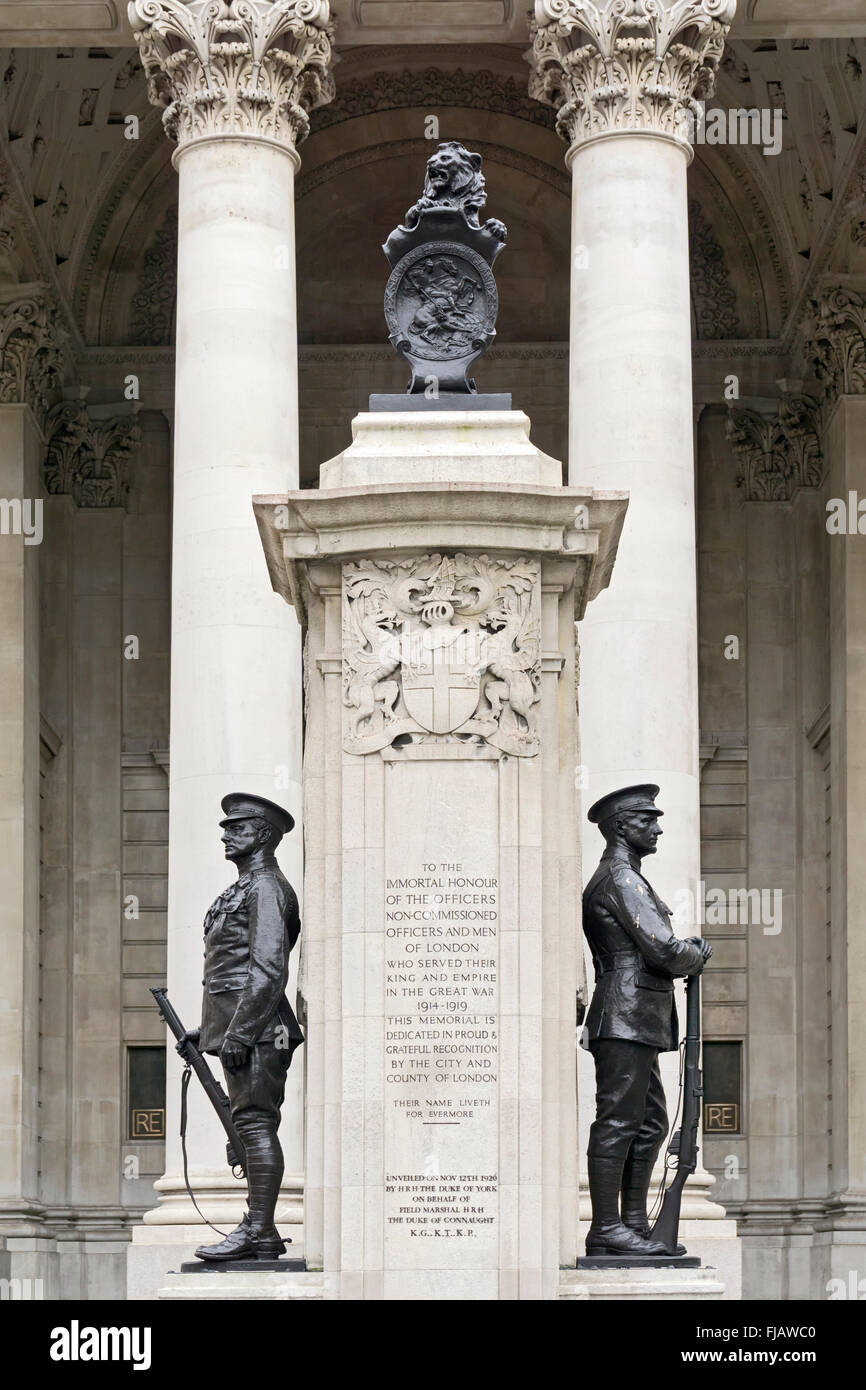 The London Troops War Memorial, Royal Exchange, City of London, commemorates the men of London who fought in WWI - Stock Image