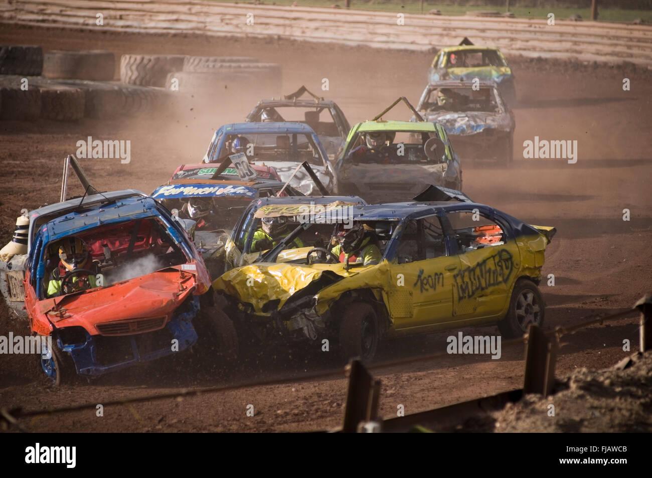 cars colliding collision car collisions crash crashes crashing stock race races racing track tracks shale banger - Stock Image