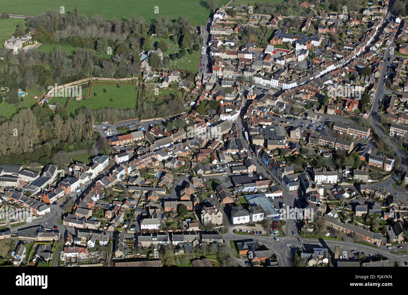 aerial view of Faringdon village in Oxfordshire, UK - Stock Image